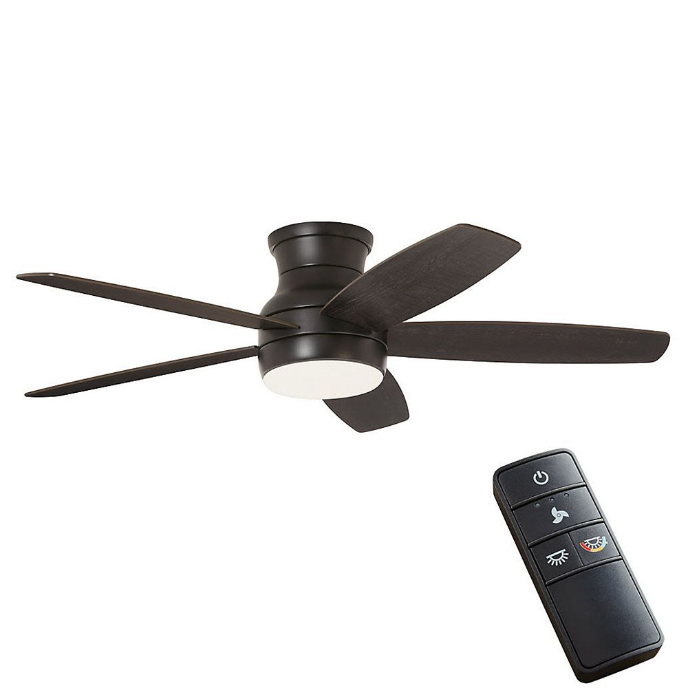Home Decorators Collection Ashby Park 52-inch Matte Black Ceiling Fan with Color Changing Integrated LED Light and Remote Control