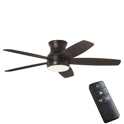 Ashby Park 52-inch Matte Black Ceiling Fan with Color Changing Integrated LED Light and Remote Control