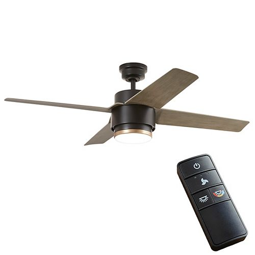 Dinton 52 inch Integrated LED Matte Black Ceiling Fan with Light and Remote