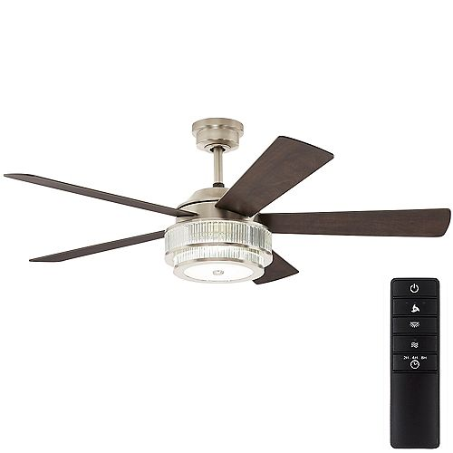 Caldwell 52 inch Integrated LED Brushed Nickel Ceiling Fan with Light and Remote