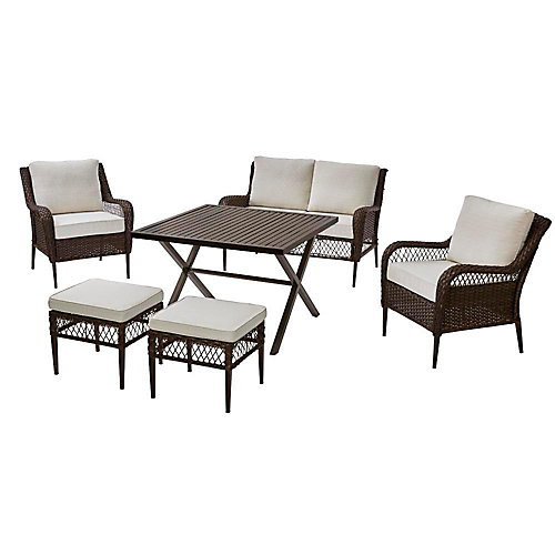 Bayview 6-Piece All-Weather Wicker Patio Deep Seating High Dining Conversation Set