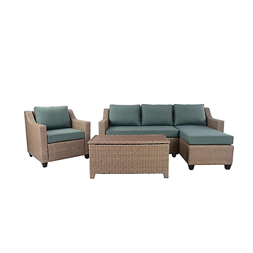 Amber Grove 4-Piece All-Weather Wicker Patio Sectional Set with Green Cushions