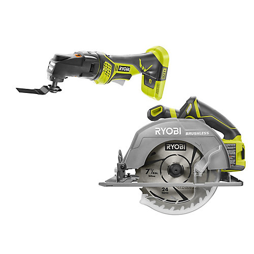 18V ONE+ Cordless Combo Kit with Brushless 7-1/4 -inch Circular Saw, JobPlus Multi-Tool (Tools Only)