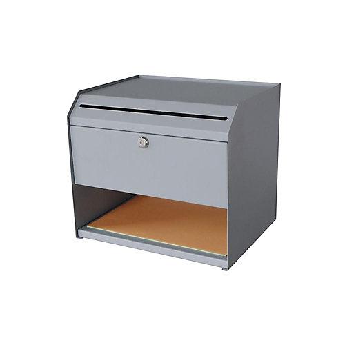 Boîte à suggestions en acier à 1 étagère avec rangement pour papier, gris