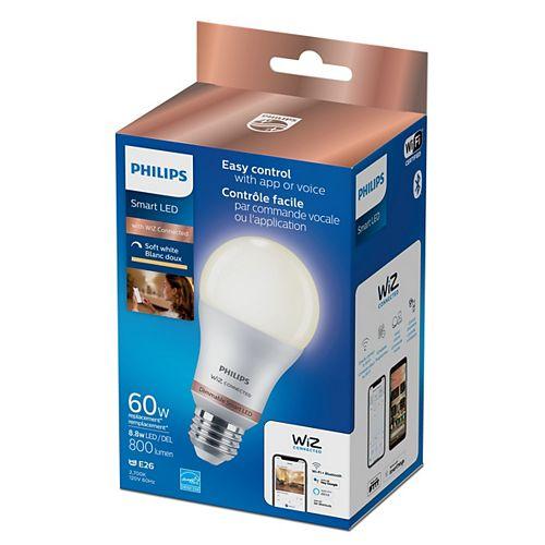 Ampoule intelligente A19 à DEL givrée Wi-Fi WiZ à intensité variable, 60 W, blanc chaud