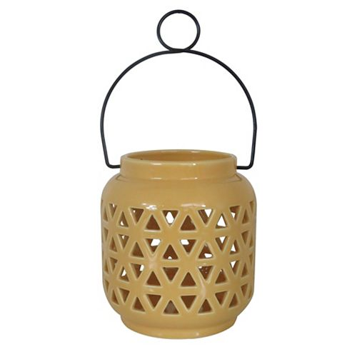 6.5-inch Ceramic Lantern in Sun Yellow
