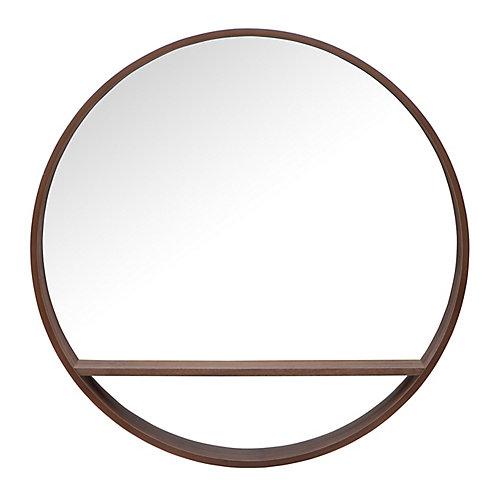 Alex, rond, 32 po miroir avec etagere