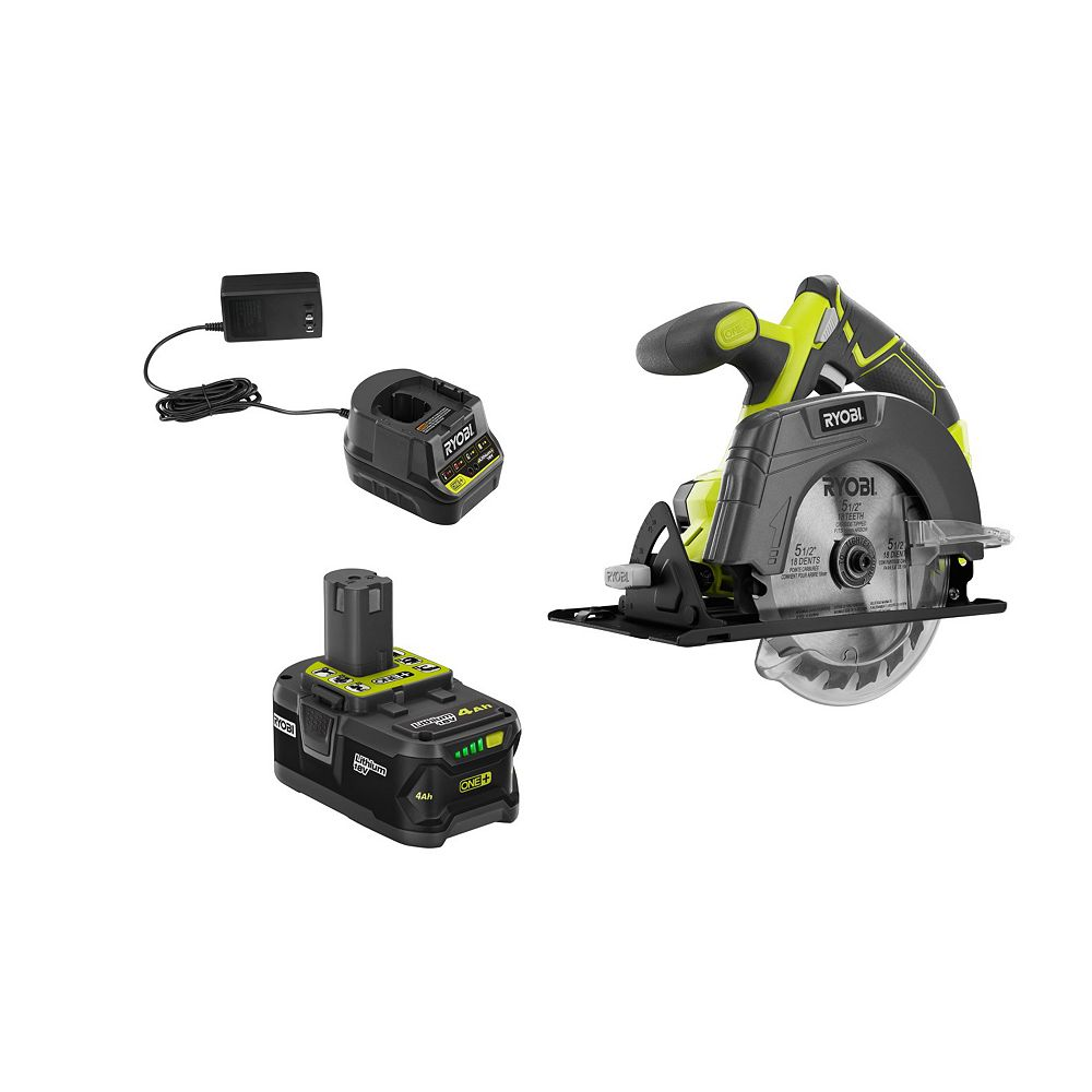 RYOBI 18V ONE+ Cordless 5-1/2 -inch Circular Saw with (1) 4.0 Ah Lithium-Ion Battery and Charger