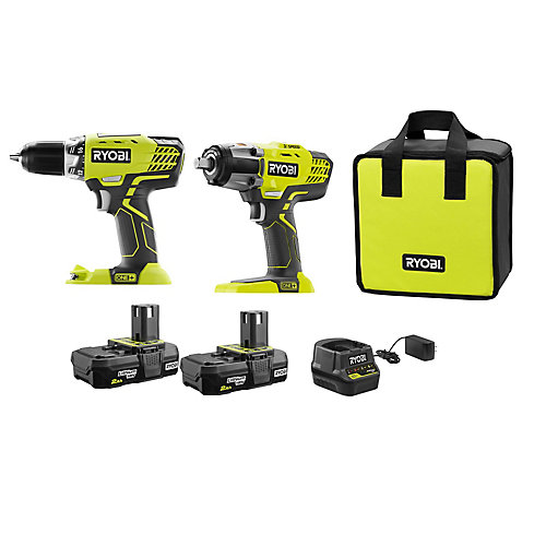 18V ONE+ Cordless Kit with 1/2 -inch Drill, 1/2 -inch Impact Wrench, (2) 2.0 Ah Batteries and Charger