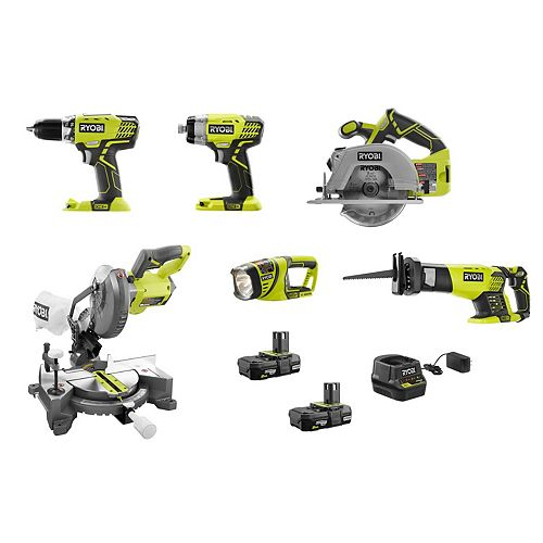 18V ONE+ Cordless 6-Tool Combo Kit with (2) 2.0 Ah Compact Lithium-Ion Batteries and Charger