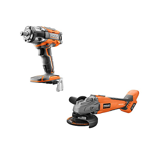 18V Cordless Brushless Kit with 4-1/2-inch Angle Grinder and OCTANE 1/2-inch Impact Wrench (Tools Only)