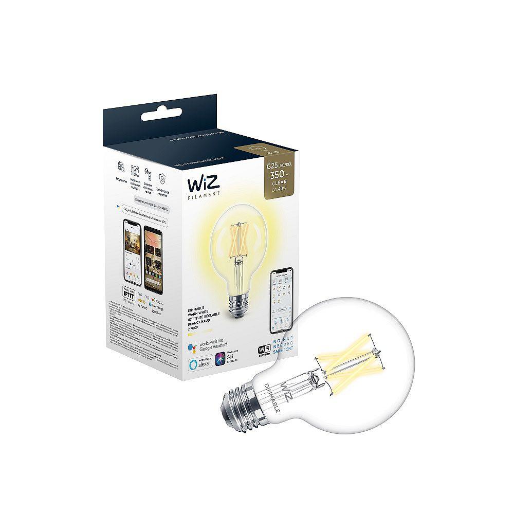 Philips WiZ Ampoule LED à filament 40W Equivalent G25 Blanc Doux (2700K) à gradation Vintage Smart