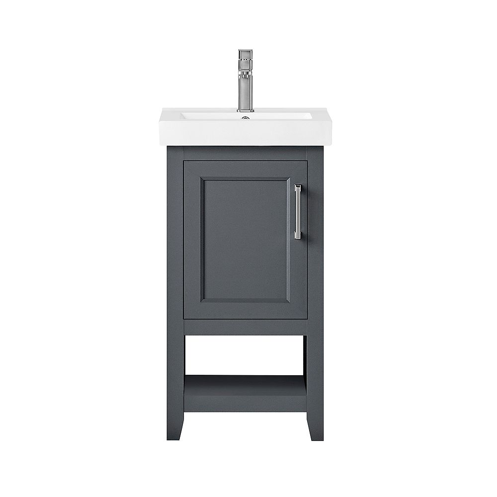 Ove Decors Southgate 18 Inch Dark Charcoal Vanity With One Piece White Ceramic Top And Bru The Home Depot Canada