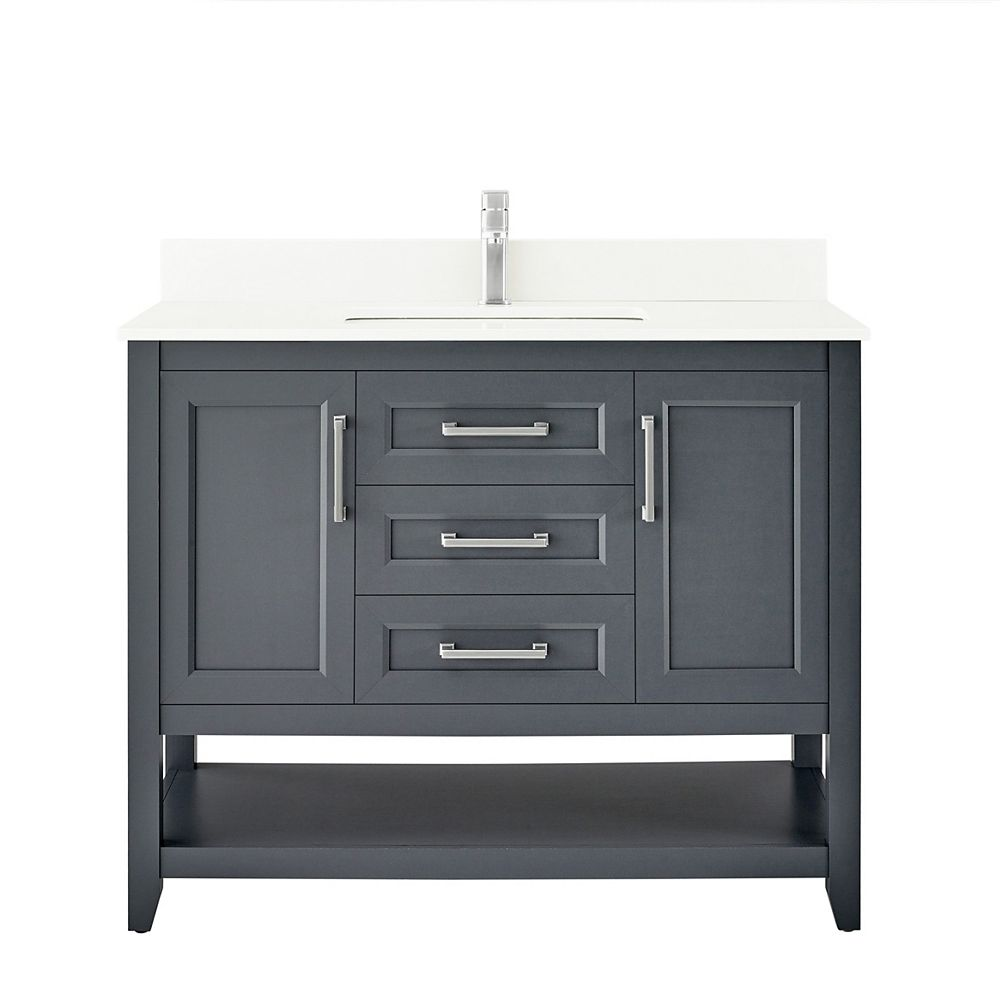 Ove Decors Southgate 42-inch Vanity in Dark Charcoal with White Cultured Marble Top and Brushed Nickel Hardware