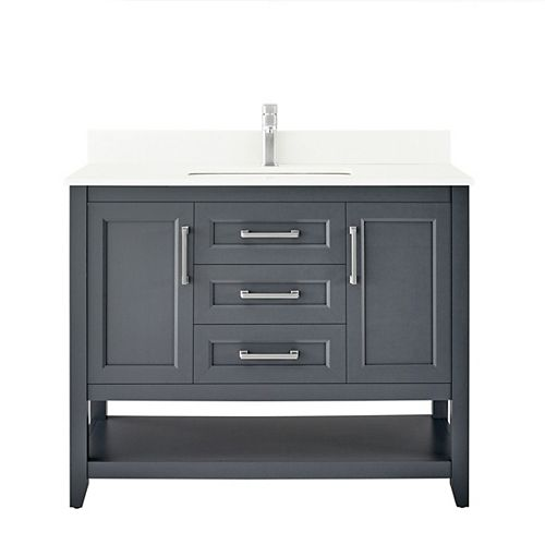 Southgate 42-inch Vanity in Dark Charcoal with White Cultured Marble Top and Brushed Nickel Hardware