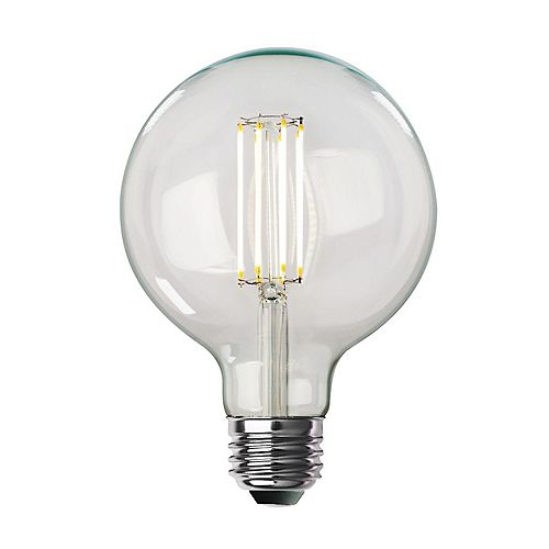 100W Equivalent G40 Dimmable Vintage Style Clear Straight Filament LED Light Bulb Soft White 2700K