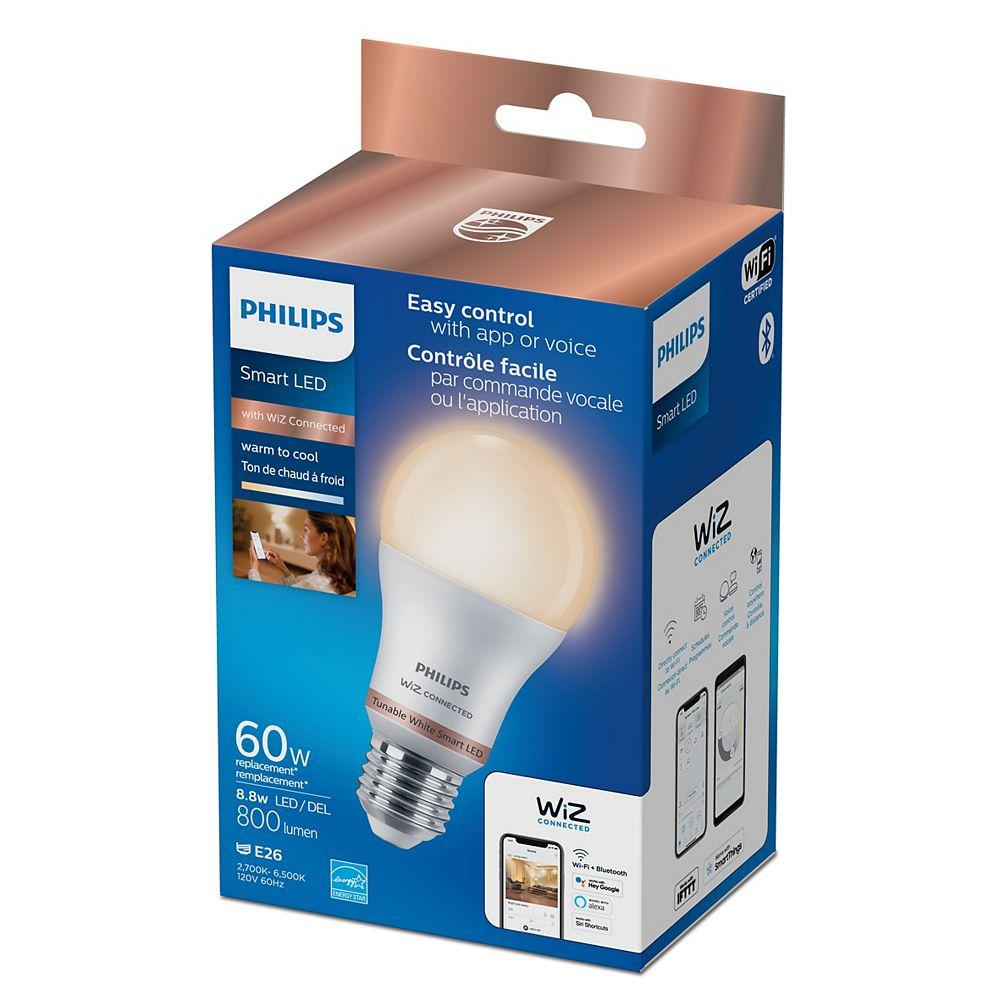 Philips Ampoule intelligente A19 à DEL givrée Wi-Fi WiZ pour maison int., 60 W, blanc réglable