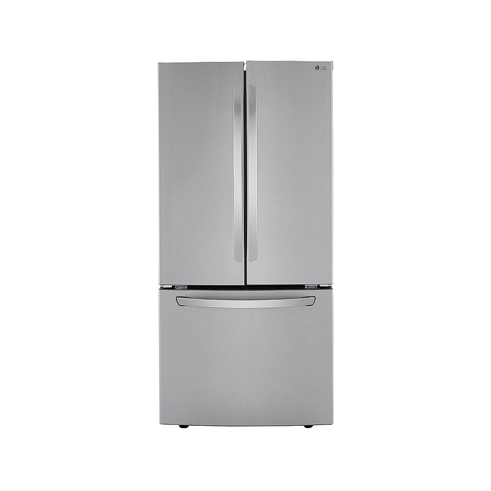 LG Electronics Réfrigérateur à porte française de 33 pouces de largeur et 25 pieds cubes en acier inoxydable résistant aux taches - ENERGY STAR