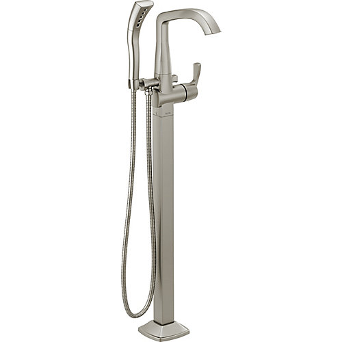 Stryke Single Hole Freestanding Tub Filler Trim in Stainless Steel