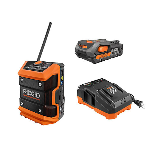 18V Cordless Mini Bluetooth Radio with Radio App, 2.0 Ah Lithium-Ion Battery, and Charger