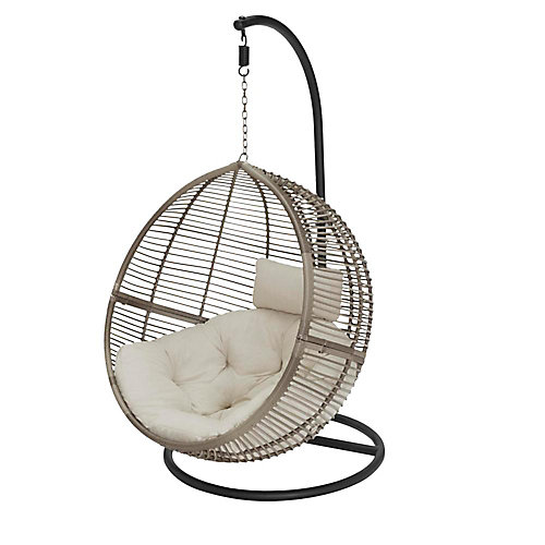 Egg Shaped 1-Person Wicker Patio Swing with Biscuit Cushions