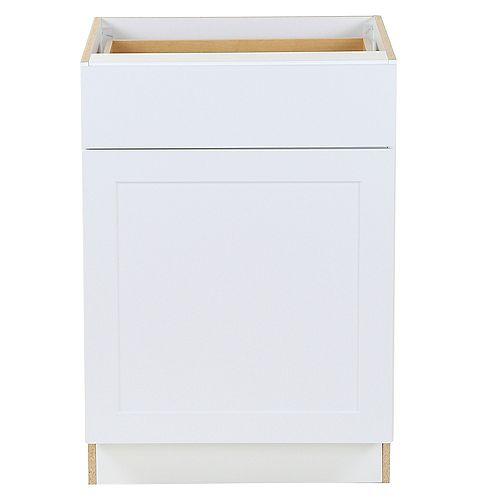 Edson 24 pouces W x 34,5 pouces H x 24,5 pouces D Shaker Style Assemblé Armoire de base de cuisine / Placard en blanc massif avec tablette réglable / tiroir à fermeture souple (B24L)