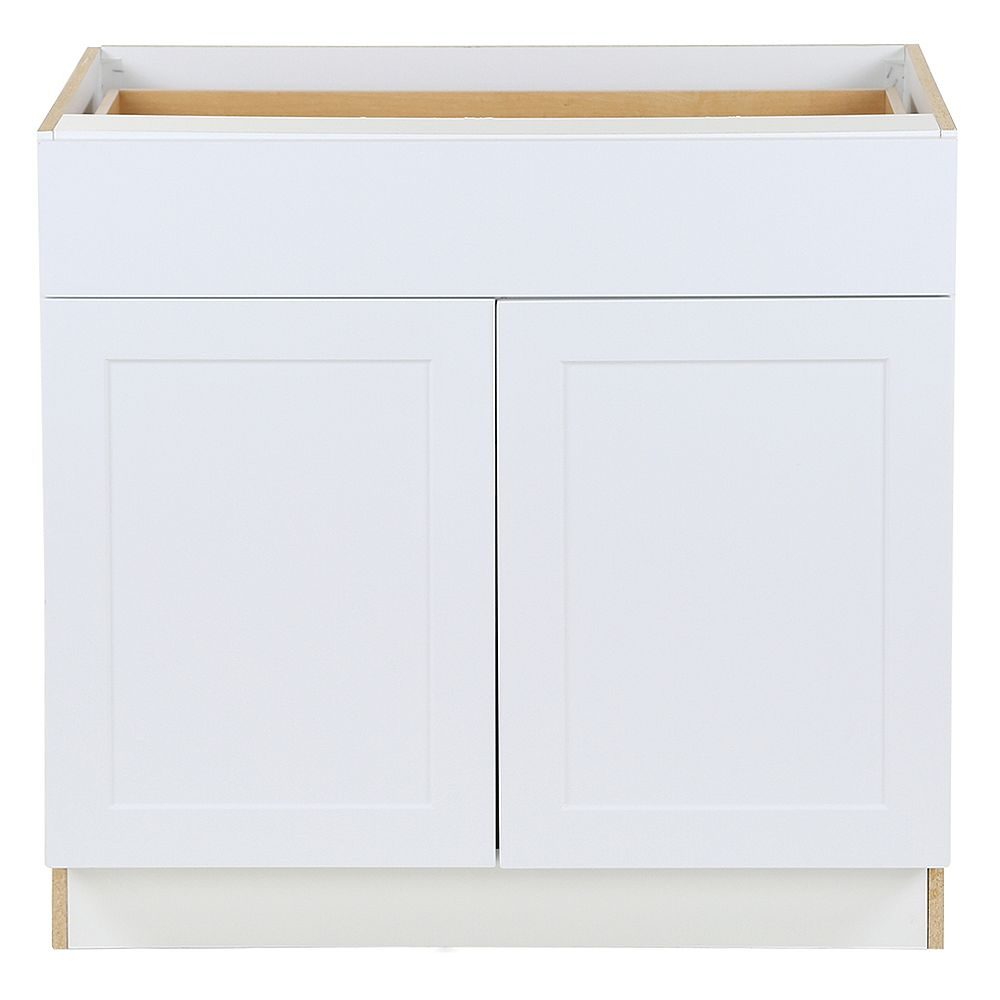 Edson 20 inch W x 20.20 inch H x 20.20 inch D Shaker Style Assembled Kitchen  Base Cabinet/Cupboard in Solid White with Adjustable Shelf/Soft Close ...