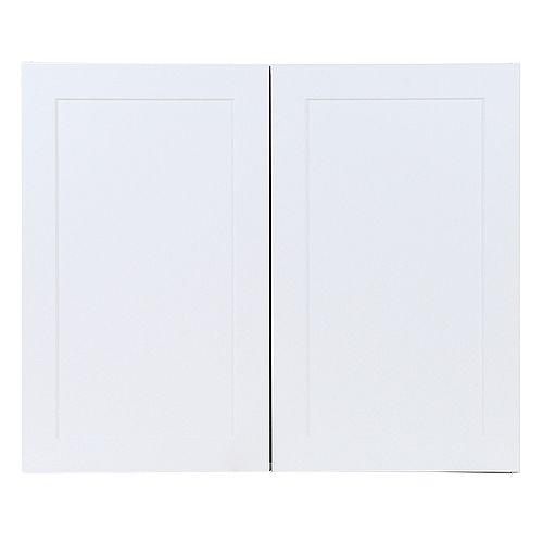 Edson 36 pouces W x 30 pouces H x 12,5 pouces D Shaker Style Assemblé Armoire murale de cuisine / Armoire en blanc massif avec tablettes réglables (W3630)