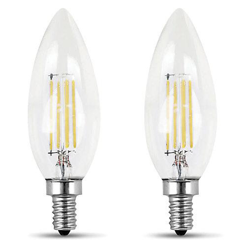 100W Daylight (5000K) Clear Glass B10 Candelabra Filament LED Light Bulb (2-Pack)