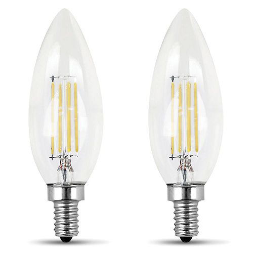 Feit Electric 100W Daylight (5000K) Clear Glass B10 Candelabra Filament LED Light Bulb (2-Pack)