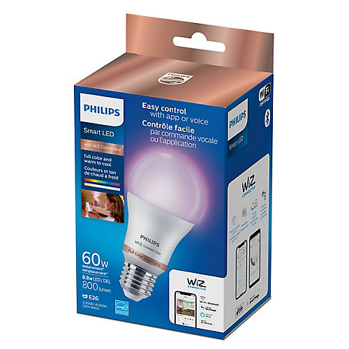 WiZ 60W A19 Frosted WiFi Full Colour & Tunable White (2200-6500K) Smart LED Light Bulb