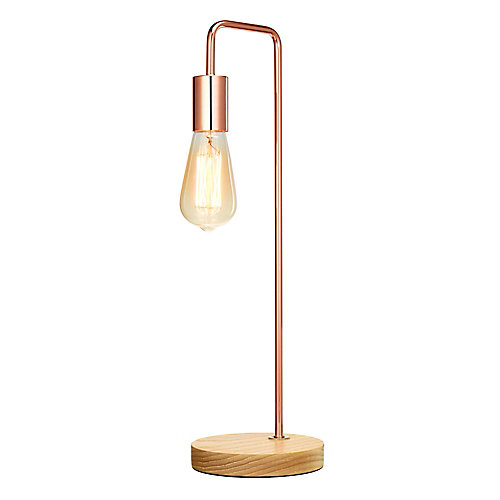 Industrial Table Lamp with Exposed Bulb, Rose Gold and Wood Finish