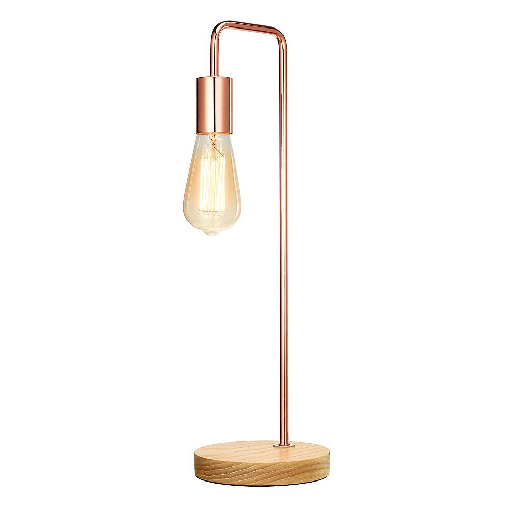 Home Luminaire Lampe de table industrielle avec ampoule exposée, fini or rose et bois