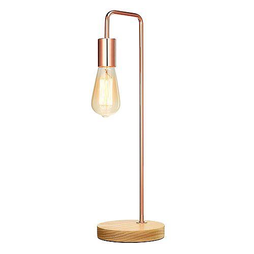 Lampe de table industrielle avec ampoule exposée, fini or rose et bois