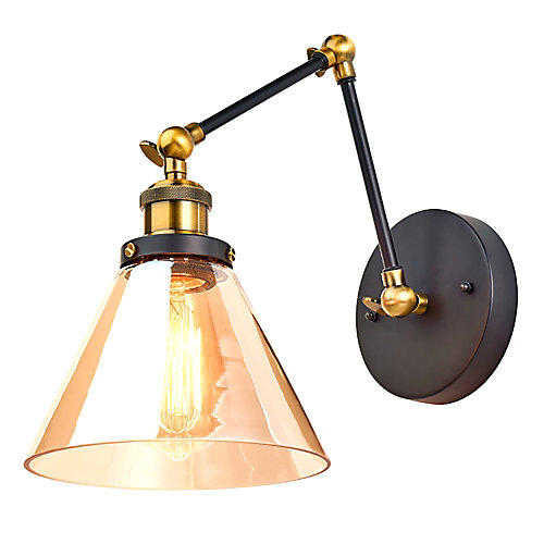 1-Light Sconce with Extendable Arm and Amber Glass Shade, Black and Antique Brass/Bronze Finish