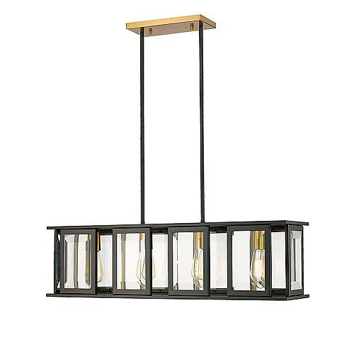 Calvin 4-Lights LED Black & Gold Pendant Light