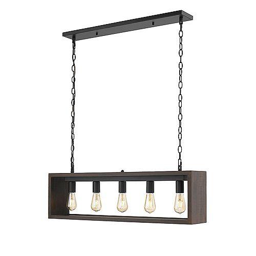 Flances V 5-Lights LED Dark Brown Wood Pendant Light