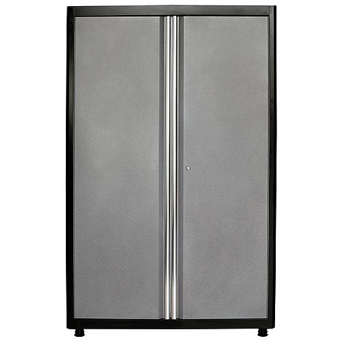 American Heritage 72  inch H x 46  inch W x 24  inch D Welded Steel Floor Cabinet in Black/Multi-Granite