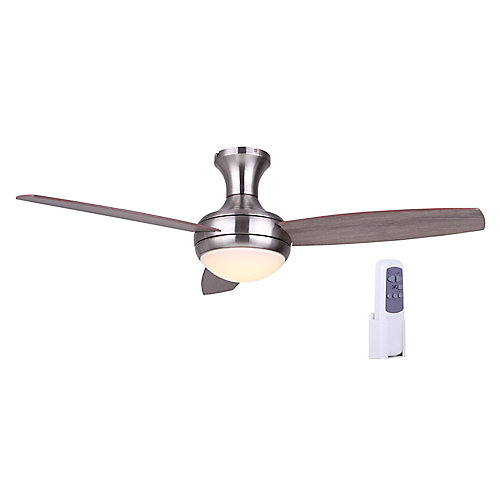 Shandel 48 inch Brushed Nickel Ceiling Fan with Plastic Frosted White Shade