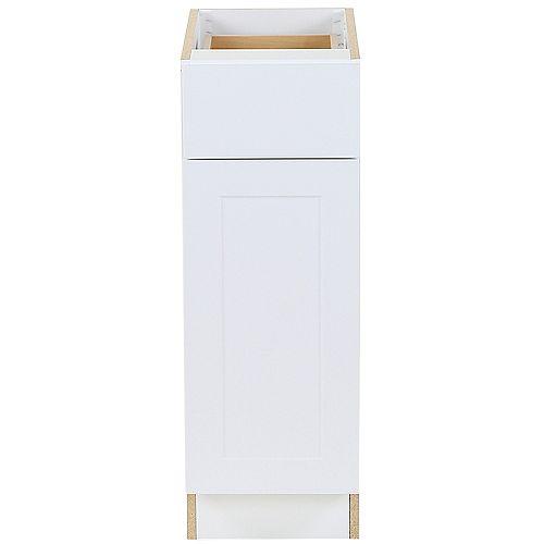 Edson 12 pouces W x 34,5 pouces H x 24,5 pouces D Shaker Style Assemblé Armoire de base de cuisine / Placard en blanc massif avec tablette réglable / tiroir à fermeture souple (B12L)