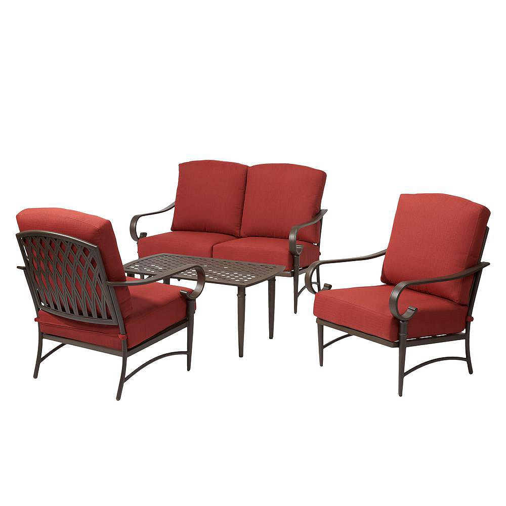 Oak Cliff 10 Piece Metal Patio Deep Seating Set with Chili Cushions