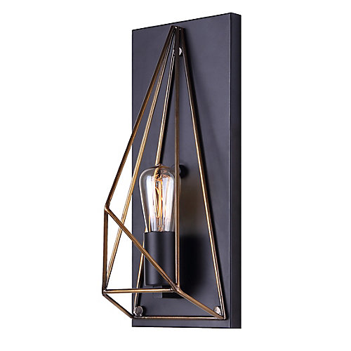Greer 1-Light Matte Black and Gold Wall Sconce