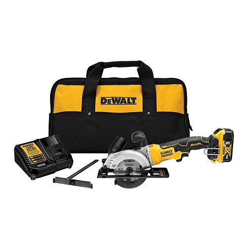 DEWALT ATOMIC 20V MAX Brushless 4-1/2-inch Cordless Circular Saw Kit with 5.0 Ahr Battery Pack, Charger and Bag
