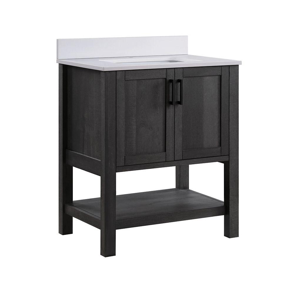 Glacier Bay Grafton 30 Inch 2 Door Bathroom Vanity In Weathered Dark Brown Finish With Eng The Home Depot Canada