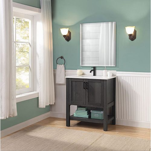 Glacier Bay Grafton 30-inch 2-Door Bathroom Vanity in Weathered Dark Brown Finish with Engineered Stone Top in Bright White