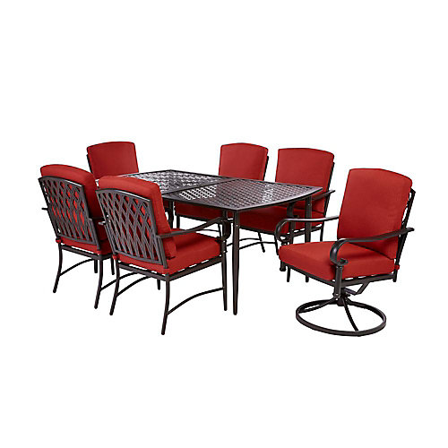 Oak Cliff 7-Piece Patio Dining Set with 4 Stationary and 2 Swivel Chairs and Chili Cushions