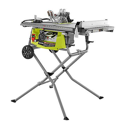 Scie à table à capacité augmentée de 15 ampères 10 pouces avec support de roulement