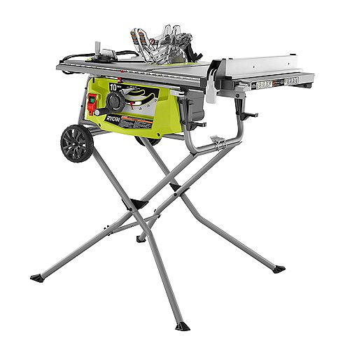 15 Amp 10-inch Expanded Capacity Table Saw With Rolling Stand