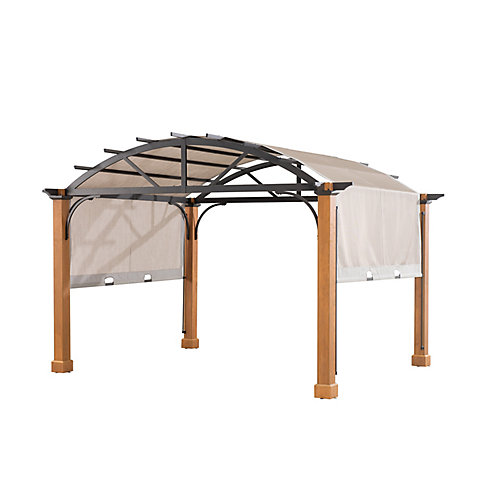 Longford 10 ft. x 12 ft. Wood Patio Pergola with Sling Canopy