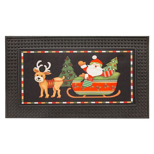 Home Accents 18-inch x 30-inch LED Rubber Door Mat with Festive Sounds, Santa